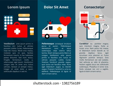 Simple medical symbol icons for web banner and poster