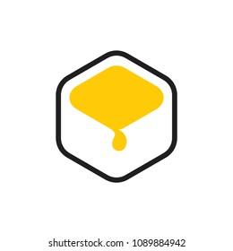 simple melting honey in hive symbol logo vector