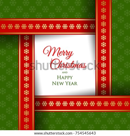 simple merry christmas and happy new year card template or document background