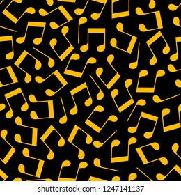Simple messy golden music notes on black seamless pattern, vector