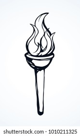 Simple metal greek cresset torchlight on white background. Freehand line black ink hand drawn object badge emblem sketchy in retro art scribble cartoon style pen on paper with space for text