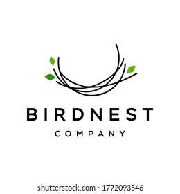 simple and minimal bird nest icon logo line illustration with leaf symbol, bird house symbol logo Vector