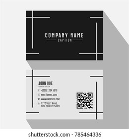 Simple Minimal Black and White Lined Business Card