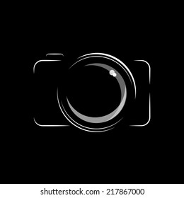 Simple, minimal camera icon in black and white, isolated over black background. EPS10 vector format.