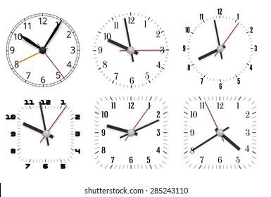 Simple minimal clock design dial plates with arrows, Vector illustration