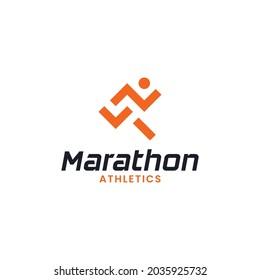 Simple Minimal Marathon Running Jogging Logo Design Template. Suitable for Sports Event Fitness Gym Athlete Apparel Trainer Shop Business Company Brand App Logo Design.