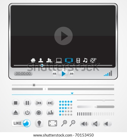 Simple minimal media player with icons