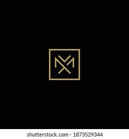 simple minimal monogram letter M vector logo design