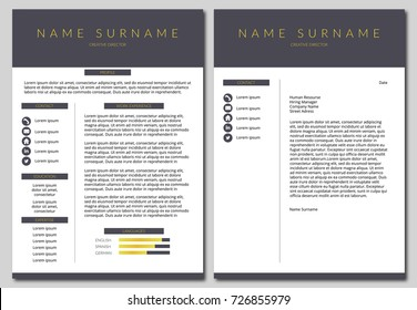 Simple and minimal style resume template with cover letter. Vector template.