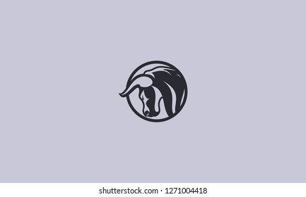 Simple And Minimalis Bull Silhouette Logo Vector