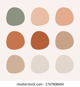 simple minimalist earth-toned color palette with swatches. earth-toned colors combination.