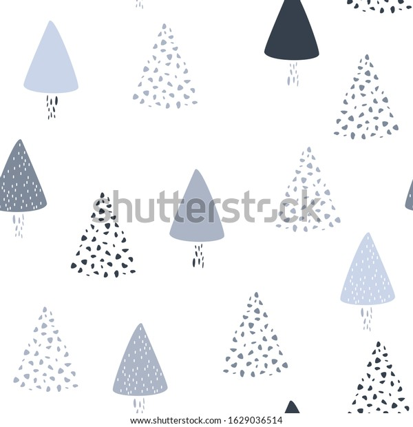 Simple Minimalist Elegant Pattern Frozen Trees Stock Vector Royalty Free 1629036514