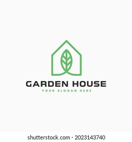 Simple and minimalist Garden House logo design vector, unique logo concept, combination of home and leaf
