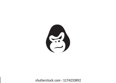 Simple Minimalist Gorilla Head Vector