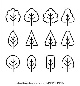 Simple and minimalist logo symbols of tree with line