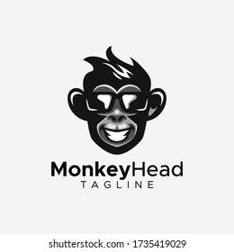 Simple minimalist monkey gorilla head logo design vector template