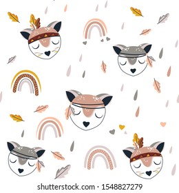 Simple minimalist Nordic Scandinavian pattern with Native American theme with foxes with headdress, rainbows, rain drops and autumn leaves. Cute unisex pattern with sleeping animals heads for nursery