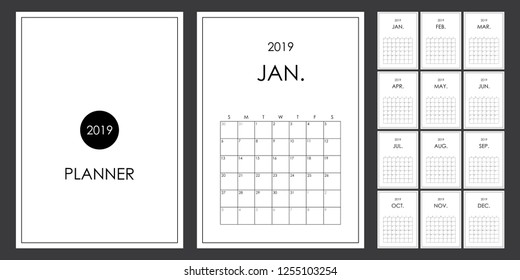 Simple and minimalist planner design of 2019.  Calendar, organizer, planner 2019. A4 size printable.