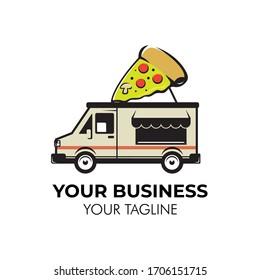 Simple minimalist retro pizza food truck logo design template