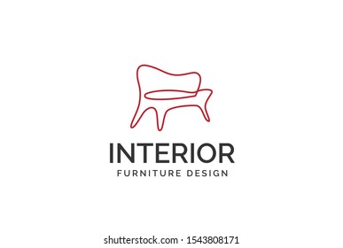 Simple minimalist sofa line art furniture interior logo design flat vector graphics