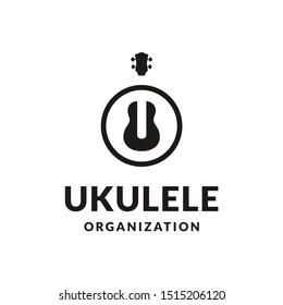Simple Minimalist Typography Lettering Uke / Ukulele Logo design
