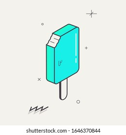 Simple minimalistic Abstract isometric flat decorative ice cream.Geometric element.Gradient Blue, mint. Illustration. Print for poster, banner, web. Memphis design style. Summer season image. Vector
