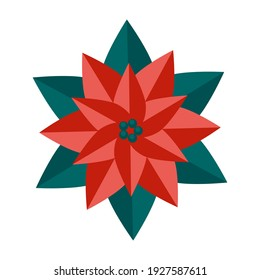 Simple minimalistic green branch of a poinsettia with leaves and red flower. Floral collection of colorful elegant plants for seasonal decoration. Stylized icons of botany. Stock vector illustration.
