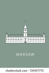 Simple minimalistic illustration of Royal Castle in Warsaw (Zamek Królewski w Warszawie)
