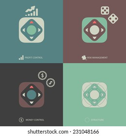 Simple Minimalistic Vector Flat Finance Icons Set for Profit Control, Risk Management and Money  Management. Including structure.
