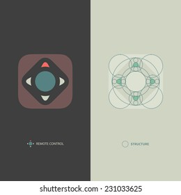 Simple Minimalistic Vector Remote Control Icon. Logo Template Including Geometric Structure. Modern Flat Style.