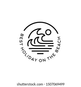 Simple modern beach logo design line art illustration. Ocean and wave vector graphics