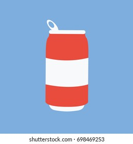 simple modern clean red opened cold water or cola can icon or symbol cartoon flat design style. cool sugary soft drinks or carbonated drinks vector isolated for web print