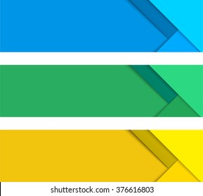 Simple modern colorful horizontal vector banners in a material design style