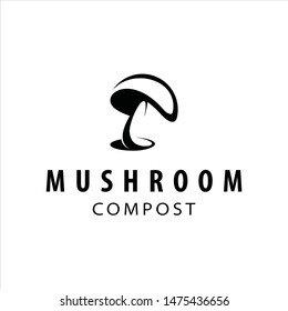 simple modern dark black mushroom compost vector. agriculture logo design template