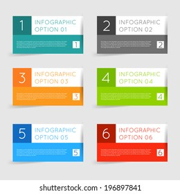 Simple modern flat infographics options banner set. Vector illustration for games, tablets, smart phones, gui and ui.