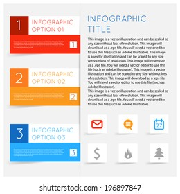 Simple modern flat infographics options banner set. Vector illustration for games, tablets, smart phones, gui and ui. Text with options, symbols icons lists, sample text shadows