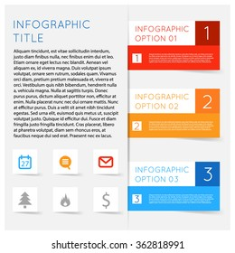 Simple modern flat infographics options banner set. Vector illustration for games, tablets, smart phones, gui and ui. Text with options, symbols icons lists, sample text shadows.