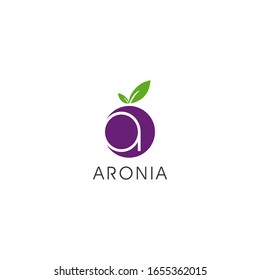 simple modern flat logo design template fruit aronia and A letter