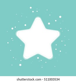 Simple modern flat white star on blue background. Winter ornament arranged with snowflakes on the blue background. Big copy space on the snowflake. Cute Christmas and New Year card template.