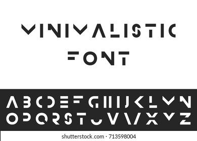 Simple modern font. Vector minimalistic english alphabet. Futuristic latin letters.