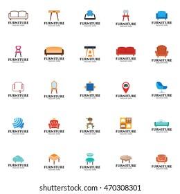 Simple modern furniture logo design template