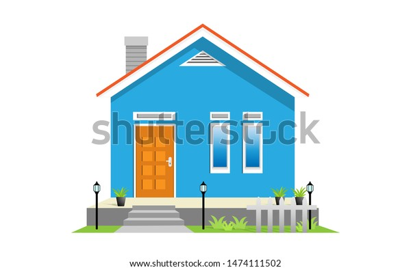 Simple Modern House Exterior Front View Stock Vector ...