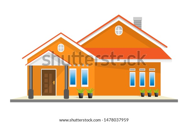 Simple Modern House Exterior Front View Stock Vector