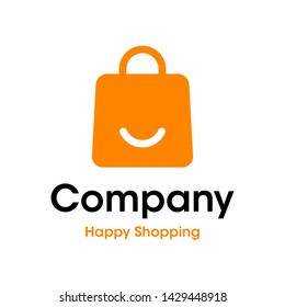 A simple modern and iconic logo/icon for Happy Shopping.