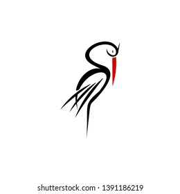 simple modern illustration of standing sleep stork vector. animal logo design template