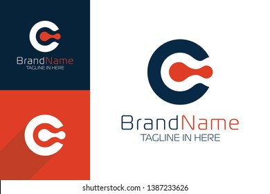Simple Modern Letter C Logo In Red Color