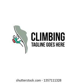 simple modern line art, outline Rock climbing logo design vector template illustration. rock climber, adventure symbol icon