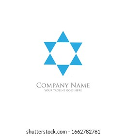 The simple modern logo of blue six triangle