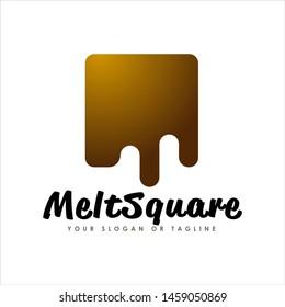 simple modern melt chocolate square logo design. Logo Design inspiration.