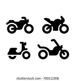 Simple and modern motorcycle vector icon set. Classic motorcycle, sports bike, moped and chopper. Minimal silhouette illustrations.